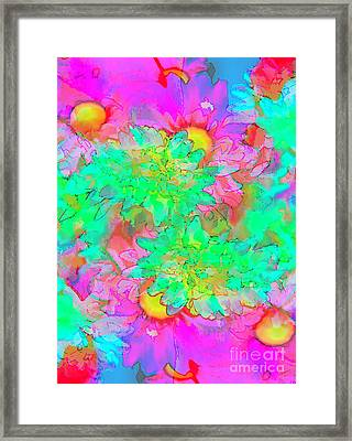 Psychedelic Citrus Explosion Framed Print by Chellie Bock