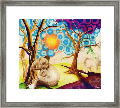 Framed Print featuring the drawing Psychedelic Elephants by Shawna Rowe