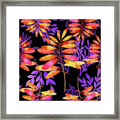 Psychedelic Fall, Vibrant Fall Leaves Nature Pattern Framed Print by Tina Lavoie