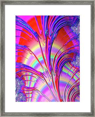 Psychedelic Fractal Art With Trippy Colors Framed Print by Matthias Hauser