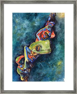 Psychedelic Frog Framed Print by Gina Hall