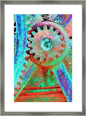 Psychedelic Gears Framed Print by Phyllis Denton