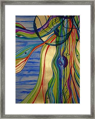Framed Print featuring the painting Psychedelic Jellyfish by Erika Swartzkopf