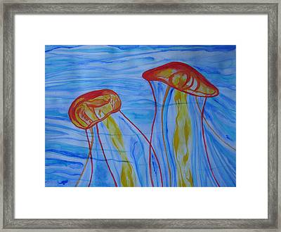 Framed Print featuring the painting Psychedelic Lion's Mane Jellyfish by Erika Swartzkopf