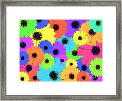 Psychedelic Marigold Flowers Framed Print