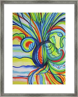 Psychedelic Pineapple Framed Print by Erika Swartzkopf