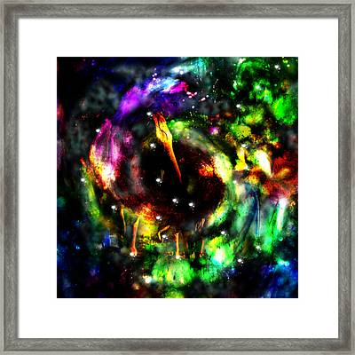 Psychedelic Rainbow Elephant Constellations Framed Print by Abram Lopez