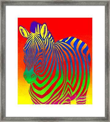 Psychedelic Rainbow Zebra Framed Print