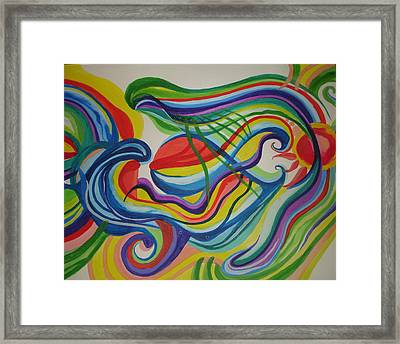 Framed Print featuring the painting Psychedelic Swim by Erika Swartzkopf