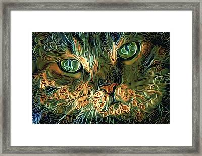 Psychedelic Tabby Cat Art Framed Print by Peggy Collins