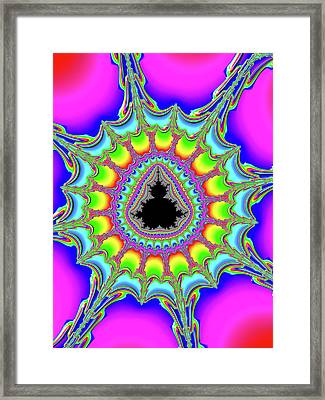 Psychedelic Trippy And Colorful Fractal Framed Print