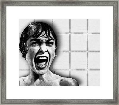 Psycho By Alfred Hitchcock, With Janet Leigh Shower Scene H Black And White Framed Print by Tony Rubino