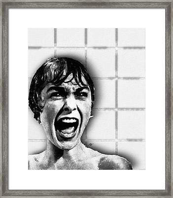 Psycho By Alfred Hitchcock, With Janet Leigh Shower Scene V Black And White Framed Print by Tony Rubino