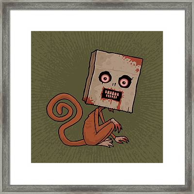 Psycho Sack Monkey Framed Print by John Schwegel