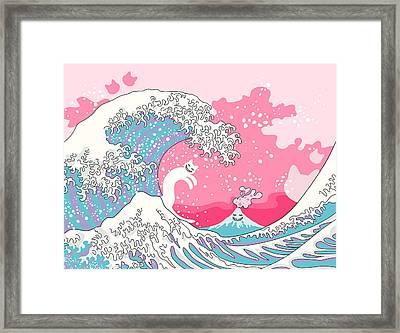 Psychodelic Bubblegum Kunagawa Surfer Cat Framed Print