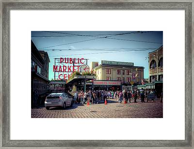 Framed Print featuring the photograph Public Market Crowd by Spencer McDonald