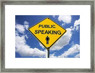 Public Speaking Sign Framed Print by Jorgo Photography - Wall Art Gallery