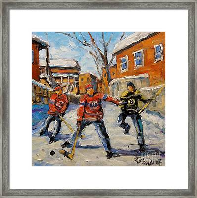 Puck Control Hockey Kids Created By Prankearts Framed Print by Richard T Pranke