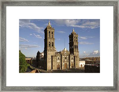 Puebla Cathedral Horizontal Mexico Framed Print by John  Mitchell