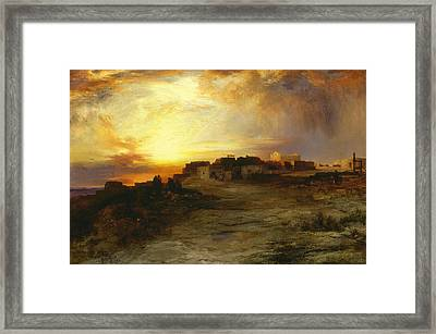 Pueblo At Sunset  Framed Print by Thomas Moran