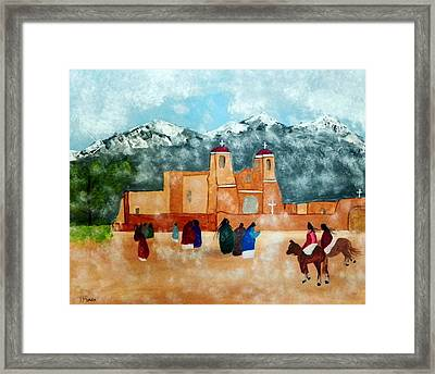 Pueblo Church Framed Print by Joseph Frank Baraba