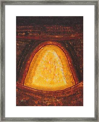 Pueblo Kiva Fireplace Original Painting Framed Print by Sol Luckman