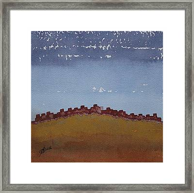 Pueblo On The Hill Original Painting Framed Print by Sol Luckman
