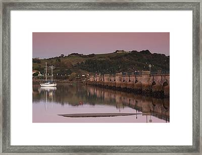 Puente De La Maza Bridge At Dusk, San Framed Print