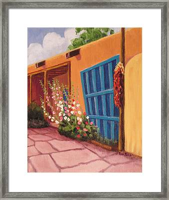 Puerta Azul En Taos Framed Print