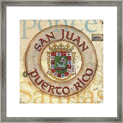 Puerto Rico Coat Of Arms Framed Print by Debbie DeWitt