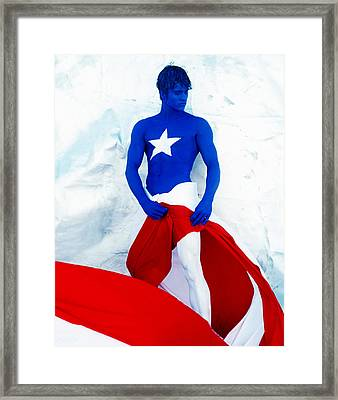Puerto Rico Flag Framed Print by Filippo Ioco