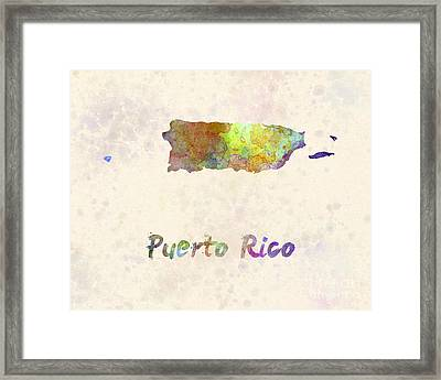 Puerto Rico  In Watercolor Framed Print