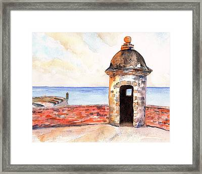 Puerto Rico Sentry Box Ocean View Framed Print