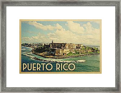 Puerto Rico Travel Poster - Vintage Travel Framed Print