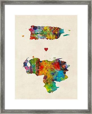 Puerto Rico Venezuela Love Framed Print