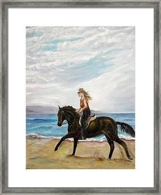 Puerto Vallarta Beach Ride Framed Print by Olga Kaczmar