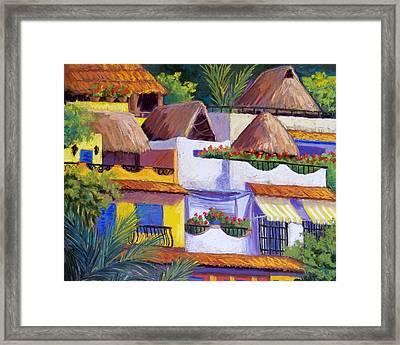 Puerto Vallarta Hillside Framed Print by Candy Mayer