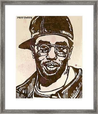 Puff Daddy Pop Stylised Art Sketch Poster Framed Print