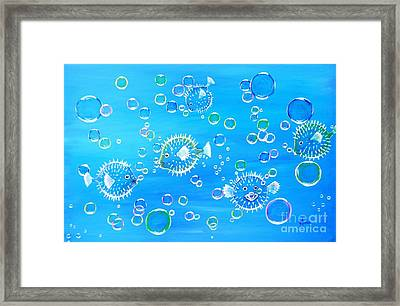 Pufferfish Playtime Framed Print