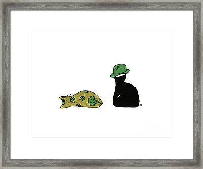 Puffie And Muffie St. Patrick's Day Framed Print
