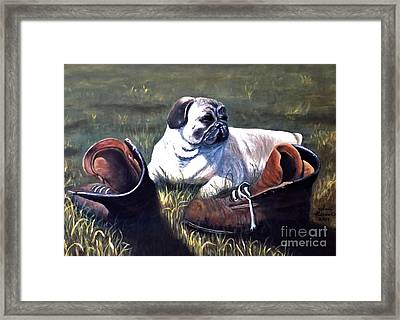 Pug And Boots Framed Print
