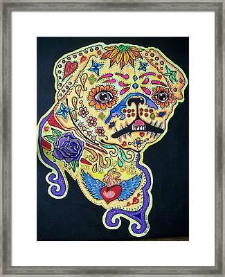 Pug Dog Canvas Framed Print by Teresa Hales