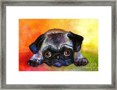 Pug Dog Portrait Painting Framed Print