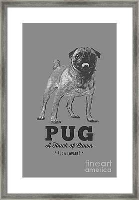 Pug Dog Touch Of Clown T-shirt Framed Print by Edward Fielding