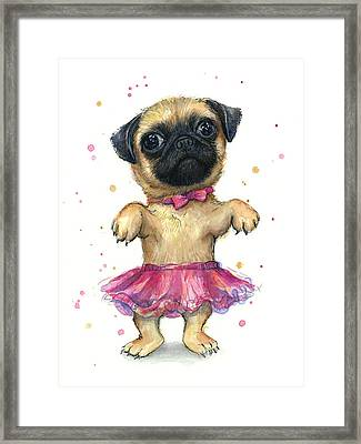 Pug In A Tutu Framed Print