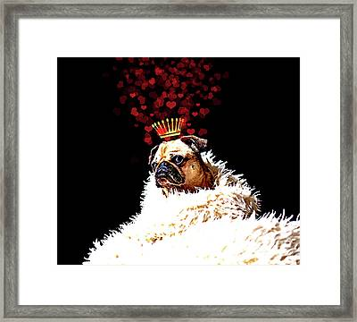 Pug Love Pug Dog With A Crown Of Hearts, Puppy Love Art Framed Print