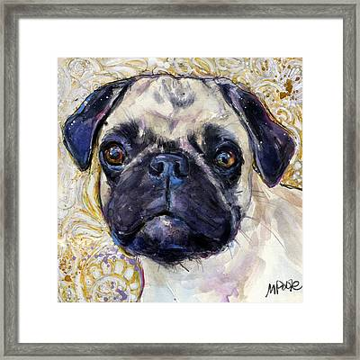 Framed Print featuring the painting Pug Mug by Molly Poole
