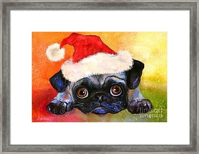 Pug Santa Portrait Framed Print by Svetlana Novikova
