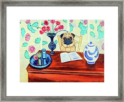 Pug Scholar Framed Print