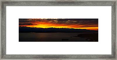 Puget Sound Olympic Mountains Sunset Framed Print